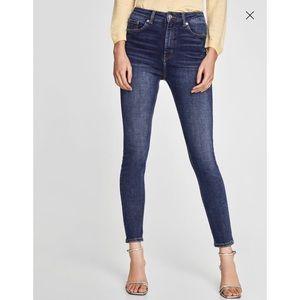"""Zara """"the high-waist bi-stretch"""" jeans in blue"""